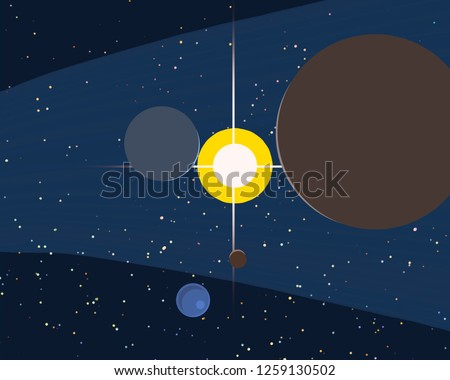 2d illustration. Cartoon space background picture. Deep vast space. Stars, planets and moons. Various science fiction creative backdrops. Space art. Alien planets. #1259130502