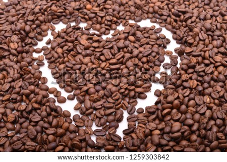 coffee grains on white background #1259303842
