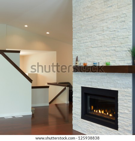 Interior design of modern Living room with fireplace in a new house #125938838