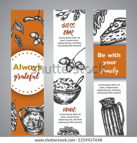 Thanksgiving day banners collection of hand drawn illustration with autumn elements, food Vintage retro style