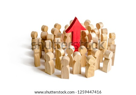 A group of people surrounded the red arrow up. Search for new opportunities and options, increase in work or increase in indicators of living standards. Self-improvement and achievement of successes #1259447416