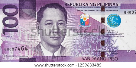 Philippine 100 peso bill (2015), new Philippines money currency close up. #1259633485