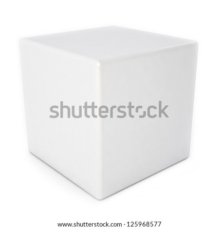 Blank white cube with reflection isolated over white