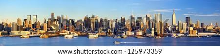 Manhattan Midtown skyline panorama before sunset, New York
