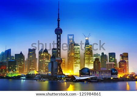 Beautiful Shanghai Pudong skyline at dusk