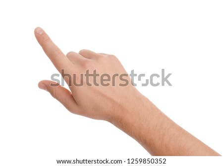 Man pointing at something on white background, closeup of hand Royalty-Free Stock Photo #1259850352