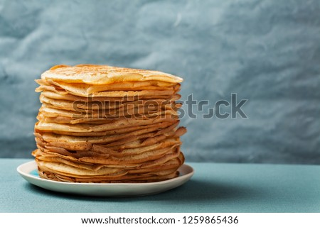 Staple of yeast pancakes, traditional for Russian pancake week (Shrove tide) #1259865436