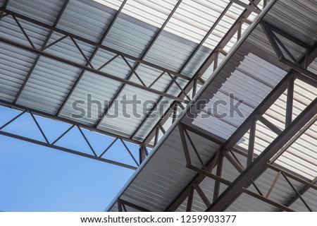 metal sheet roof light frame structure for large building #1259903377