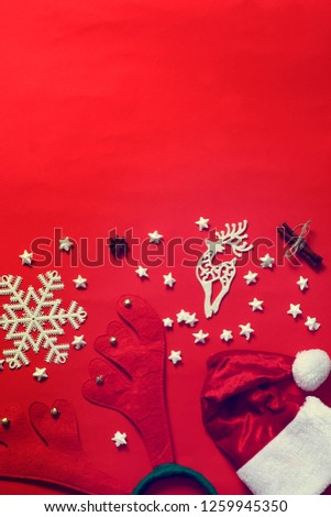 Christmas ornaments on red background. Free space for your text.Top view. #1259945350