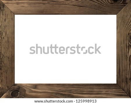 Wood frame isolated inside, old dark brown planks