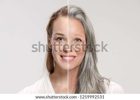 Comparison. Portrait of beautiful woman with problem and clean skin, aging and youth concept, beauty treatment and lifting. Before and after concept. Youth, old age. Process of aging and rejuvenation #1259992531