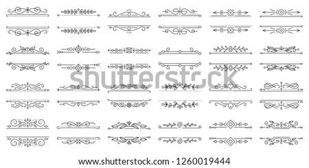 Text Frame thin line icons set. Outline sign border ornament kit. Linear collection of vintage design monogram template, ornate pattern. Simple flourish decor black symbol isolated vector Illustration