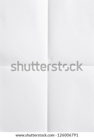 white sheet of paper folded in four Royalty-Free Stock Photo #126006791