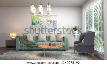 Interior of the living room. 3D illustration #1260076192