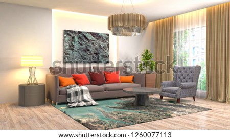 Interior of the living room. 3D illustration #1260077113