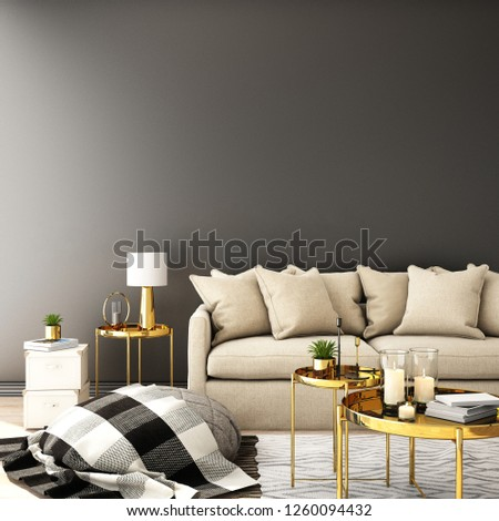 interior design for living area or reception with sofa,plant,sidetable,props on wood floor and white and black in Scandinavian style background  / 3d illustration,3d rendering #1260094432