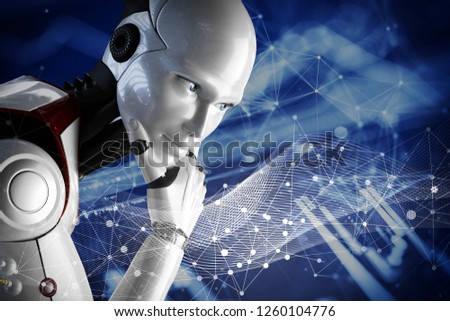 3D illustration. The robot holds the hand. New technologies. Artificial Intelligence. Against the background of a man's head. Development schedules. #1260104776