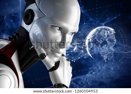 3D illustration. The robot holds the hand. New technologies. Artificial Intelligence. The robot is thinking. Digital life. Planet Earth. New life. #1260104953