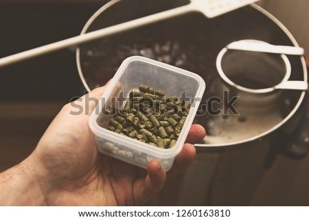 A man brewing craft beer in a kitchen. Home brewing concept image.