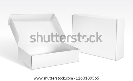 Realistic Open And Closed Blank Big Packaging Boxes. EPS10 Vector Royalty-Free Stock Photo #1260189565