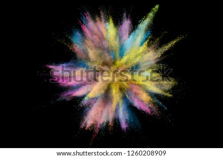 Colored powder explosion. Abstract closeup dust on backdrop. Colorful explode. Paint holi #1260208909