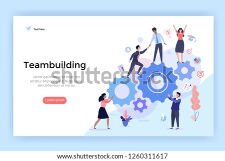 Team building concept illustration, perfect for web design, banner, mobile app, landing page, vector flat design Royalty-Free Stock Photo #1260311617