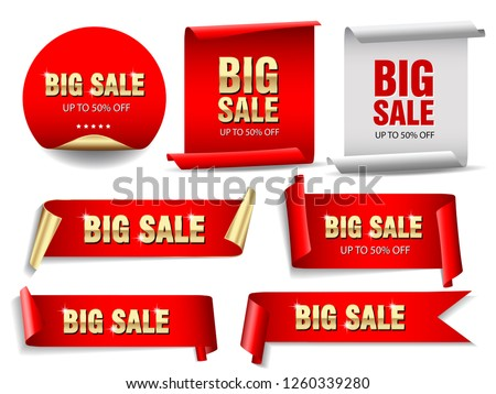 Big sale banners set. Ribbons and round sticker. Paper scrolls. Vector illustration. #1260339280
