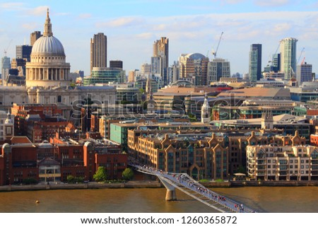 London skyline - sunset city view with Saint Paul's Cathedral. #1260365872