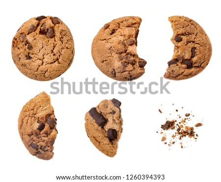 Various pieces of chocolate chips cookies isolated on white background. Homemade choco chip cookies #1260394393