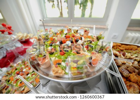 Delicous food. Sandwiches, sushi, fish, meat, beefsteak. Healthy food #1260600367