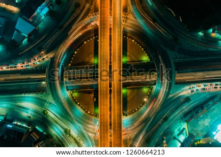 Expressway top view, Road traffic an important infrastructure #1260664213