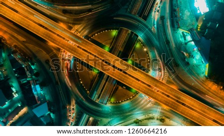 Expressway top view, Road traffic an important infrastructure #1260664216