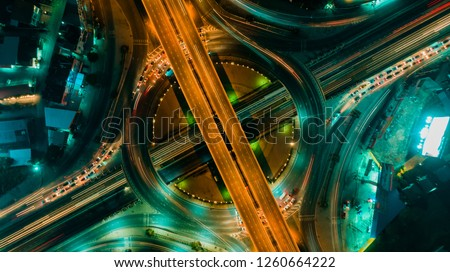 Expressway top view, Road traffic an important infrastructure #1260664222