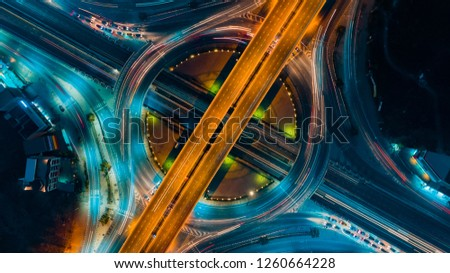 Expressway top view, Road traffic an important infrastructure #1260664228