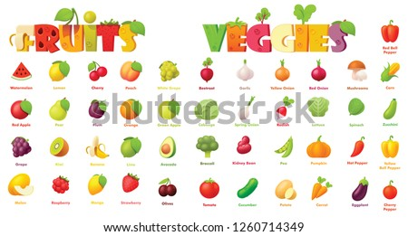 Vector fruits and vegetables icon set. Includes apples, grapes, banana, watermelon, plum, orange, pear with strawberry and other icons Royalty-Free Stock Photo #1260714349