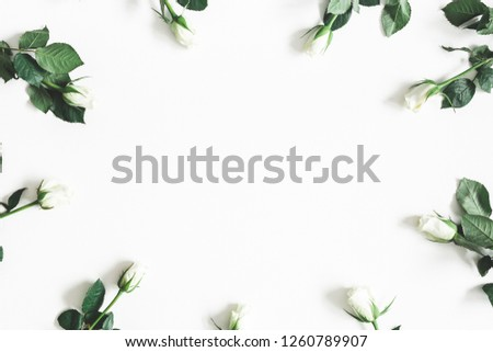 Flowers composition. White rose flowers on white background. Flat lay, top view, copy space #1260789907