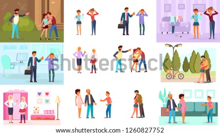 Parent Adolescent conflict concept in flat design. Set of teens and parents in different situations. Rastered copy #1260827752