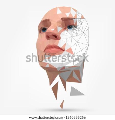 Сrumbling human face, mask, artificial face #1260855256