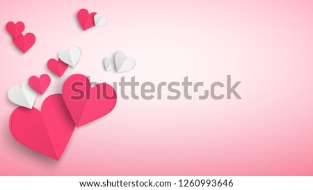 Background with several paper volume hearts, red and white on pink