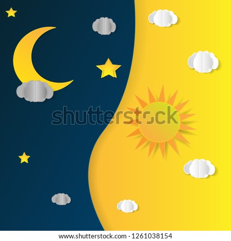 Sun, moon and stars. Day and night vector banners isolated #1261038154