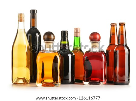 Composition with bottles of assorted alcoholic products isolated on white #126116777