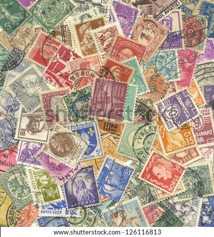 Background of stamps mail of the different countries. #126116813