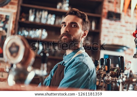 Pub worker. Low angle portrait of young bearded man in apron looking at camera with serious expression #1261181359
