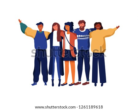 Diverse friend group of people hugging together for special event celebration. Girls and boys team hug on isolated white background with copy space. #1261189618