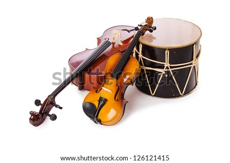 A group of instruments isolated on white Royalty-Free Stock Photo #126121415