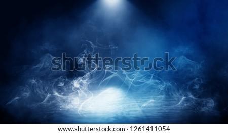 Background of empty foggy dark room, street, illuminated by the spotlight #1261411054
