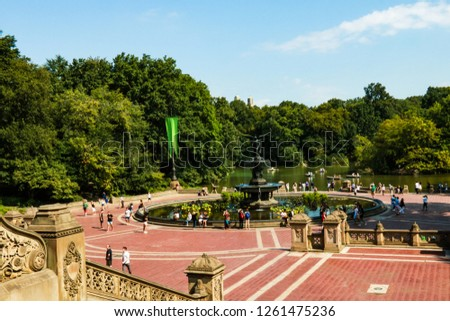 NEW YORK, USA - August 30, 2018: Beautiful view of central park in new york. #1261475236