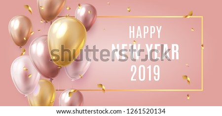 Happy New Year 2019 Celebration. Luxury Gold and Pink foil balloons with confetti in pink background. 3d ralistic vector illustration. EPS 10