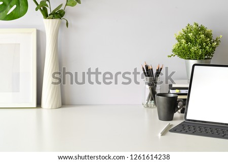 Office desk top table with office supplies, workspace and copy space Royalty-Free Stock Photo #1261614238