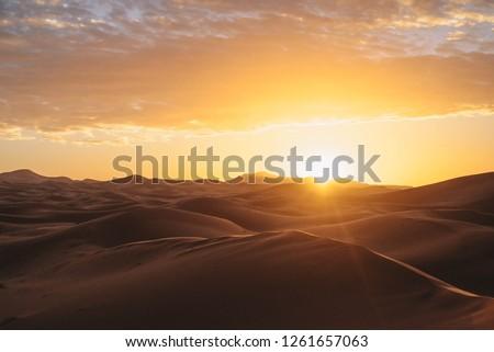 Sahara Desert Sunset  #1261657063